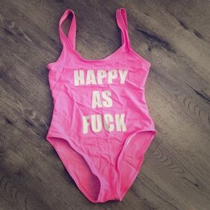 Other - Happy as F bubble gum pink one piece